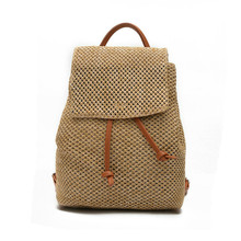Мода 2017 г. новый бренд соломы Рюкзаки кожаный Chain Tote Сумка-мешок Винтаж туристические рюкзаки Высокое качество Дамы сплетенный