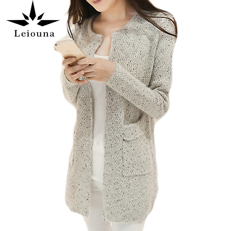 Leiouna 2017 New Spring Winter Women Casual Long Sleeve Warm Cheap Knitted Cardigans Crochet Hot Sweaters