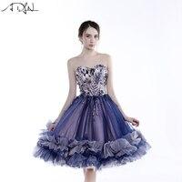 ADLN фиолетовое коктейльное платье короткая возлюбленная безрукий Тюль А силуэта длиной до колен вечерние платье на выпускной вечер