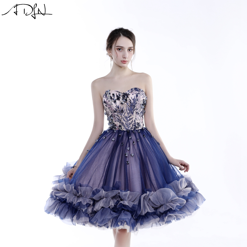 ADLN Purple   Cocktail     Dress   Short Sweetheart Sleeveless Tulle A-line Knee-length Party   Dress   Prom Gown