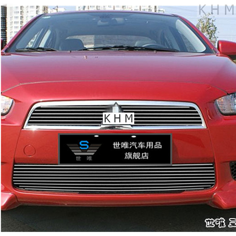 High quality aluminium alloy Front Grille Around trim Racing Grills trim for 2010-2012  Mitsubishi Lancer/Lancer X/Lancer Evo abs chrome front grille around trim racing grills trim for 2013 hyundai santa fe ix45