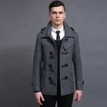 Hot Short Section Men Wool Coat 2018 Spring And Autumn New Detachable Hat Horns Deduction Long