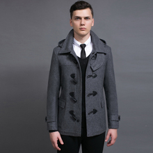 Hot Short Section Trench Men Wool Coat 2018 Spring And Autumn New Detachable Hat Horns Deduction