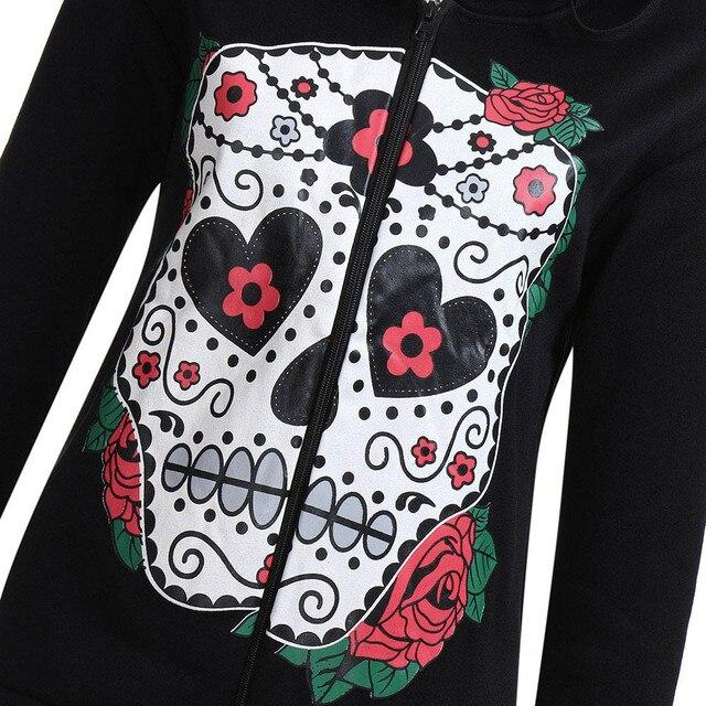 Women Hoodies Pullover Autumn Winter Black Long Zip Sleeve Sweatshirts Female Skull Print Casual Hoodies Tracksuits Sueter #10T 2