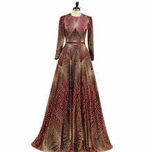ANTI Luxury Lace Sequin Evening Dress Long sleeve Muslim robe de soiree Scarf Pattern Elegant A-Line Floor-Length For Party gown(China)