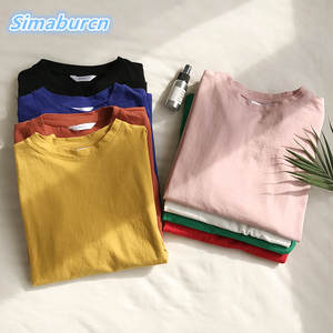 2018 Casual Summer Cotton O-Neck One Size Women T-Shirt Solid Color Short  Sleeve T Shirts Multicolor Loose Femme White Tops Tees 6d41411209ee