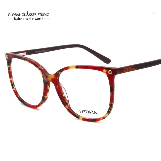 4181dcc524b7 Hand Made Acetate Eyeglass Frames Fashion Lady Big Size New Designer Demi  Blue Red Eyewear Glasses