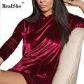 RealShe Outono hoodies para mulheres Casual Manga Comprida Camisola Casacos da mulher camisolas Mulher Topos De Veludo