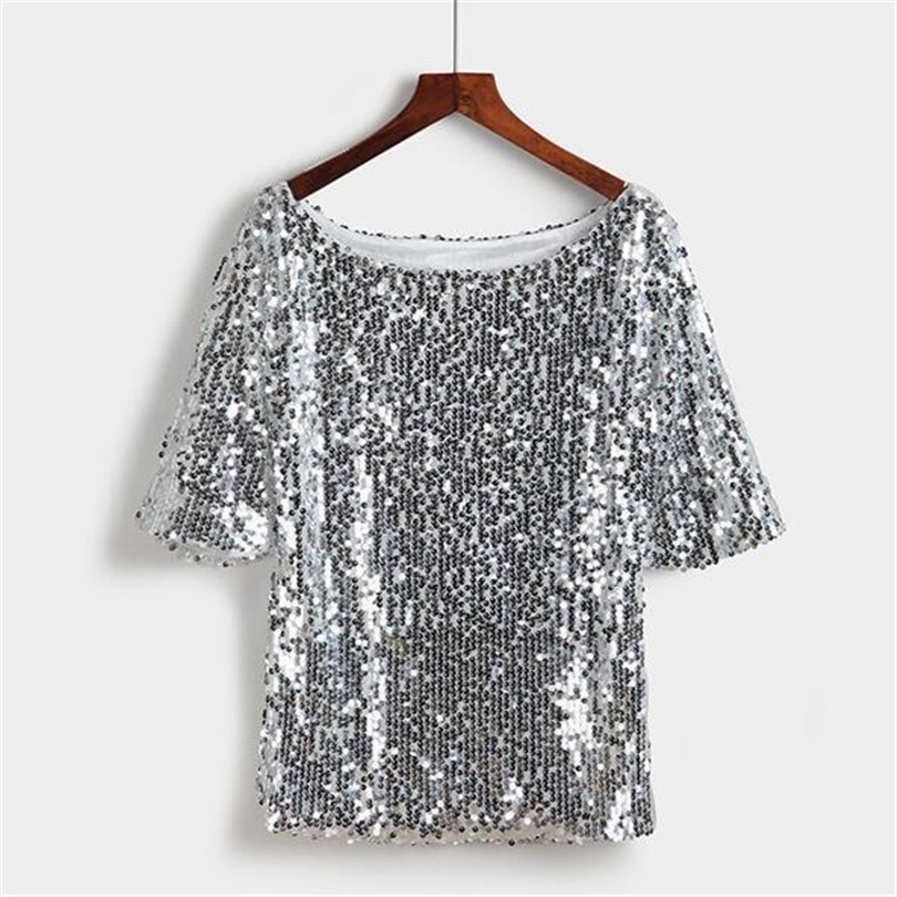 911699254adab8 CHSDCSI 2018 New Fashion Sequin Women T Shirt Gold Embroidered Half sleeved  Loose Casual Shirt Silver Top Plus Size Tops S 5XL-in T-Shirts from Women's  ...
