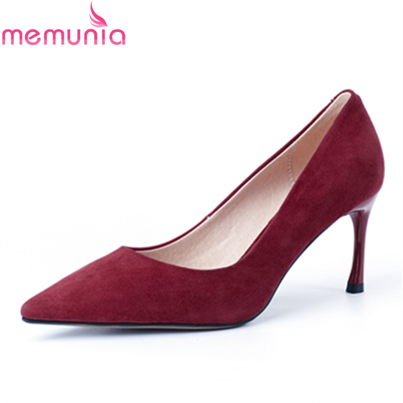 MEMUNIA fashion spring autumn shallow slip-on women pumps sexy stiletto high heels pointed toe genuine leather office shoes 2017 women strange autumn brown abnormal evening pointed toe blue catwalk high heels pumps size 4 34 stiletto medium fashion new