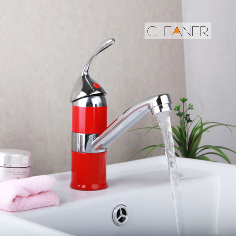 Red Bathroom Basin Sink Unique Design Single Handle Chrome Basin Sink Water Vessel Lavatory Tap Hot