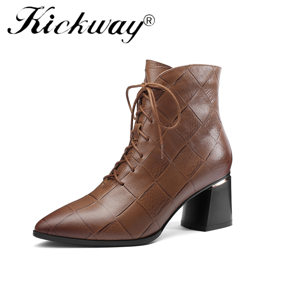 Kickway 2018 Comfortable Women Boots Square High Heel Ankle Boots Lace Up Genuine Leather Pointed Toe Ladies Shoes Size 34-42Kickway 2018 Comfortable Women Boots Square High Heel Ankle Boots Lace Up Genuine Leather Pointed Toe Ladies Shoes Size 34-42