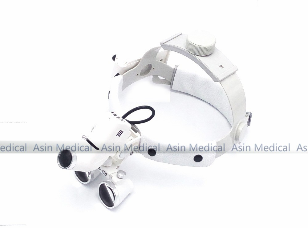 2017 New 2.5 x Dental Loupes with Head Light Lamp Head wear surgical loupes with high intensity Headlight AC/DC With Loupes