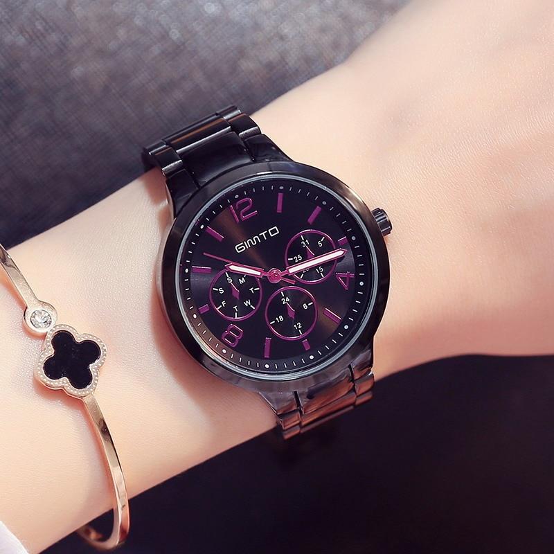 Prix pour GIMTO Petite Marque Or Rose Femmes Montre En Acier De Luxe Dames Montre Creative Fille Montre À Quartz Horloge Montre Relogio Feminino