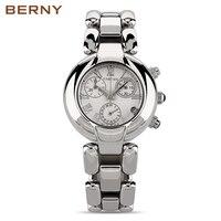 BERNY нержавеющая сталь наручные часы браслет Кварцевые часы Женские часы Женское платье дизайнерские часы подарок для девочек 2814L
