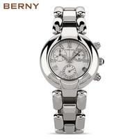 BERNY нержавеющая сталь наручные часы браслет кварцевые женщина женские часы Женское платье Дизайнер часы подарок для девочек 2814L