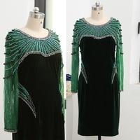 MACloth Illusion Long Sleeves Crystals Dark Green Velvet Midi Mother of the Bride Dress Knee Length Formal Dress 261869