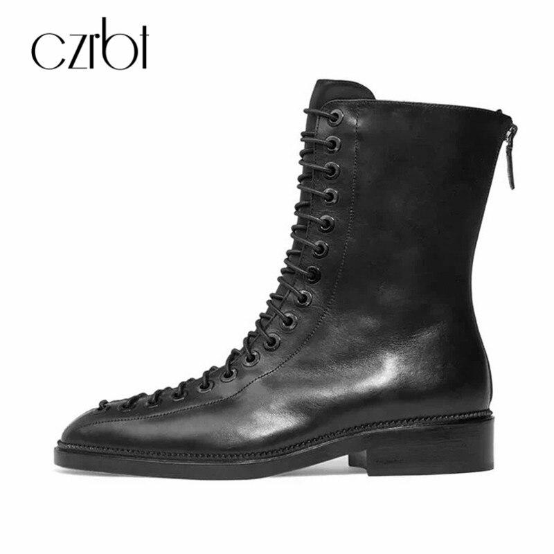 CZRBT Femmes Chaussures Femmes Plat Bottes Bottines à Lacets confort Automne Hiver Véritable Bottes En Cuir Croix Liée Noir Chaussures femmes