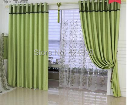 Buy Morden High Quality Curtains For Living Room Bedroom Pure Color Blue Green
