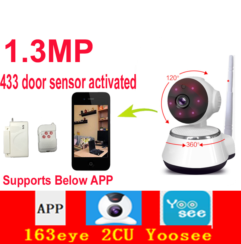 US $49 42 |robot 163eye 2CU yoosee app P2P camera 1MP motion detection wifi  camera 720P 433mhz door sensor activated IP camera baby monitor-in