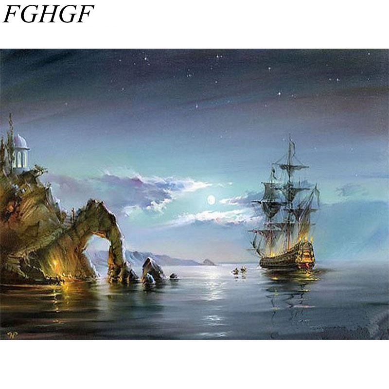 FGHGF Frameless Europe Vintage Street DIY Painting By Numbers Landscape Home Decor Wall Art Hand Painted Oil Painting