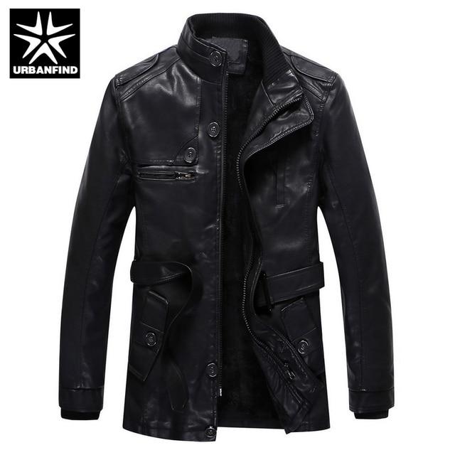 URBANFIND Men Black Leather Jackets Slim Fit Size M-3XL Fur Lining Man Warm Winter Coats Men's Clothing
