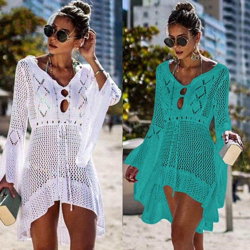 2019 croché blanco de punto de playa cubierta de vestido túnica larga Pareos Bikinis cubrir ups Swim Cover up Robe Plage Beachwear