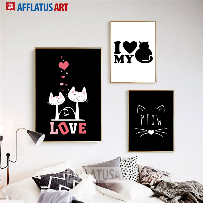 Cat Love Quotes Nordic Posters And Prints Wall Art Canvas Painting Black White Wall Pictures For Living Room Bedroom Home Decor in Painting Calligraphy from Home Garden