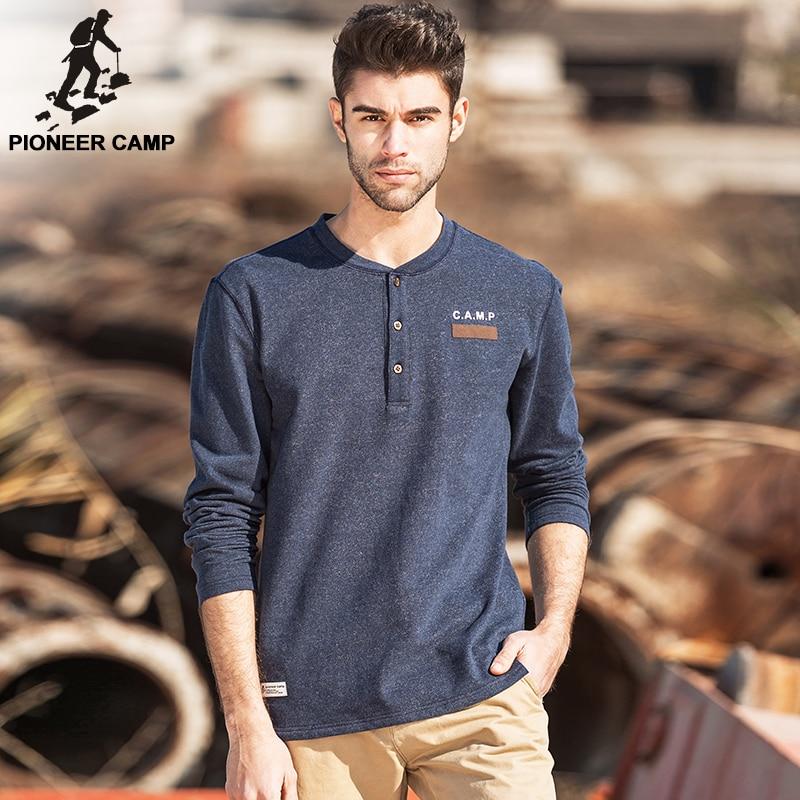 Camp pionnier nouvelle mode mens t shirt marque vêtements épais T-shirt mâle coton confortable top qualité élastique doux T-shirt