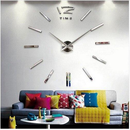重复3D Real Big Wall Clock Rushed Mirror Wall Sticker Diy Living Room Home Decor Fashion Watches Arrival Quartz Large Wall Clocks 5