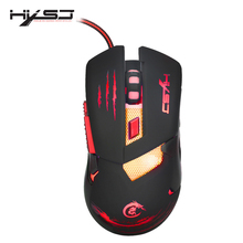 HXSJ H400 LED Backlight Metal Base Wired Gaming Mouse 6 Buttons Programming Competitive Games Mice for Computer