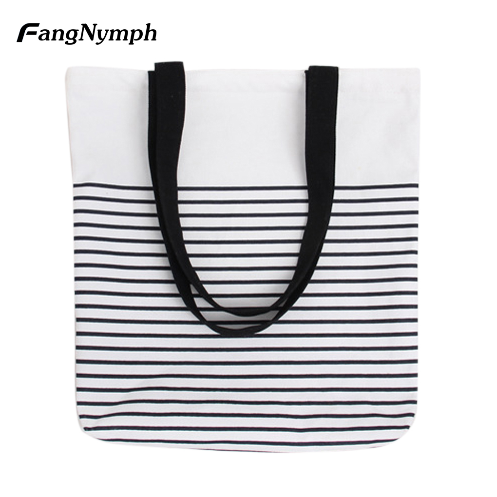 Casual Women Striped Envelope Shopping Tote Bag Canvas Handbag Crossbody Bag Student Bookbag red/black