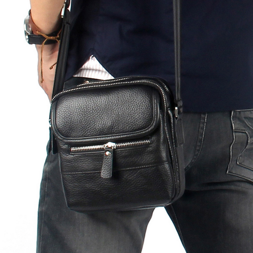 Genuine Leather Cowhide Men fashion Briefcase Crossbody Shoulder Bag Casual Bags