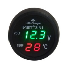 Multifunction 3 in 1 Digital LED Car Thermometer Auto Car USB Charger Temperature Meter Auto Accessories 4 in 1 multifunction car auto safety hammer with led flashlight