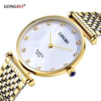 Longbo Women S Watches Men Simple Casual Style Gold Stainless Steel Watchband Crystal Dial Waterproof Couples