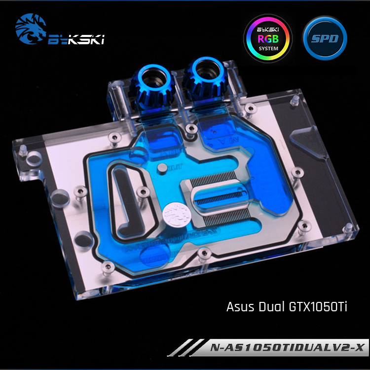 Bykski N-AS1050TIDUALV2-X Full Cover Graphics Card WaterCooling Block RGB/RBW for ASUS DUAL GTX1050TI цена