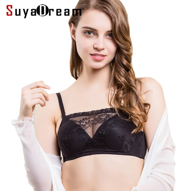 41246a051bc REAL SILK Women Lace Bra Comfortable Wire Free Bras 100%Natural Silk  bralette Thin padding Black Beige White bralett