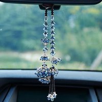 Bauhinia Flower Crafts Crystal Hanging Ornaments Car Rearview Mirror DIY Home Decor Car Interior Styling Pendant Accessories