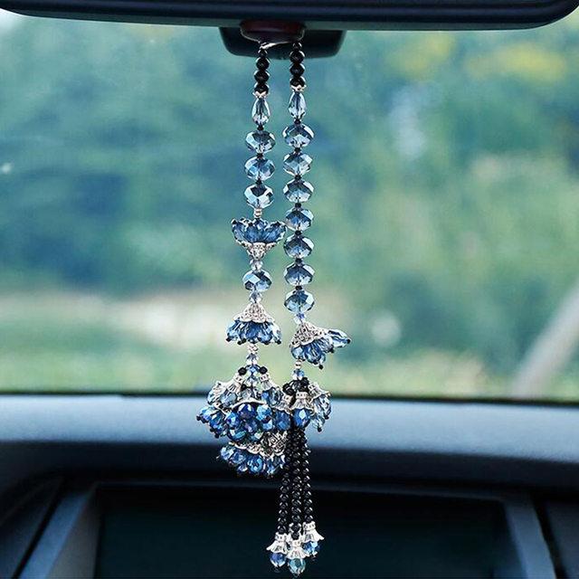 Car Pendant Bauhinia Flower Crafts Crystal Hanging Ornaments