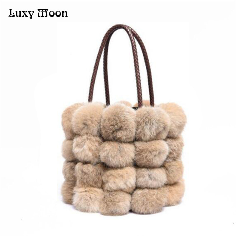 Luxy Moon Winter New Women Handbags Rabbit Fur Drawstring Hand Bags High Capacity Rabbit Fur Shoulder Messenger Bags ZD428 kitcox70427dpr06042 value kit dial basics foaming hand soap dpr06042 and glad forceflex tall kitchen drawstring bags cox70427