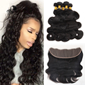 JUFA 9A 13X4 Ear To Ear Lace Frontal Closure With Bundles Brazilian Virgin Hair Body Wave With Lace Frontal Closure