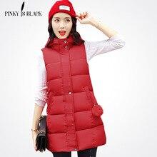 Pinky Is black Medium-Long Cotton Padded Winter Vest Women Waistcoat Plus Size 3XL Slim Sleeveless Jacket Long Female