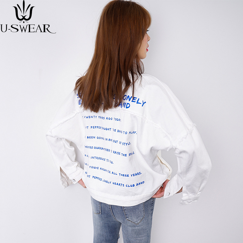 U-SWEAR Fashion Jacket Coat Denim Autumn 2018 Character Print Female Casual Jacket Cool Girl White Outwear Coat Woman Jackets