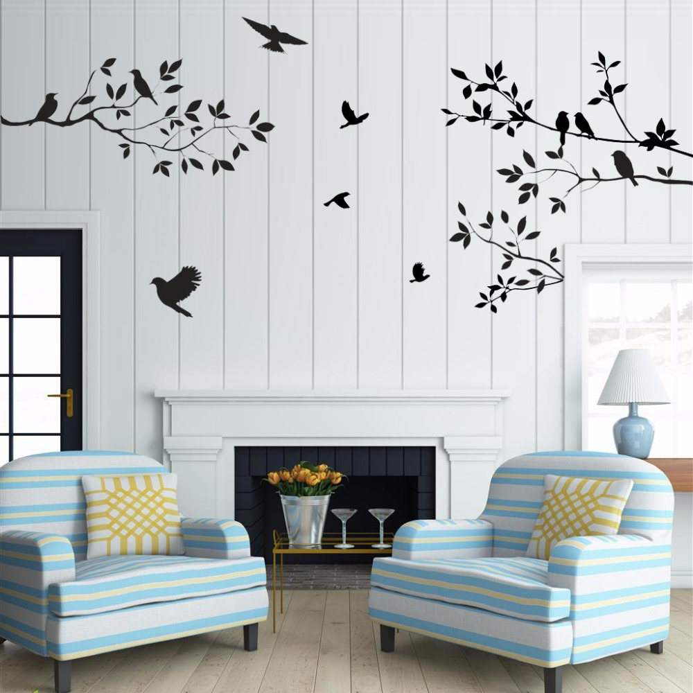 sale birds tree wall stickers home decor living room diy vinyl art mural decals removable. Black Bedroom Furniture Sets. Home Design Ideas