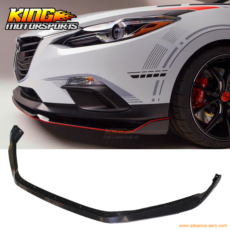 Fit For 14 15 16 Mazda 3 4Dr / 5Dr Front Bumper Lip Spoiler - ABS