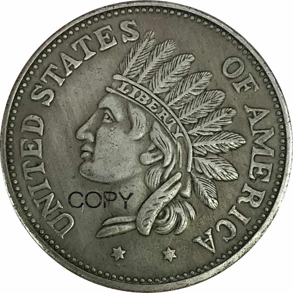 Hoa Kỳ 1 Một Đô La Ấn Độ Đầu Đột Quyết 1851 Bằng Đồng Thau Mạ Bạc Sao Chép Đồng Xu