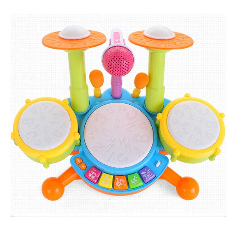 Tambour de Jazz bébé jouet de tambour Musical Instrument de musique à Percussion électronique jouets éducatifs précoces avec Microphone Double jouets à benne basculante