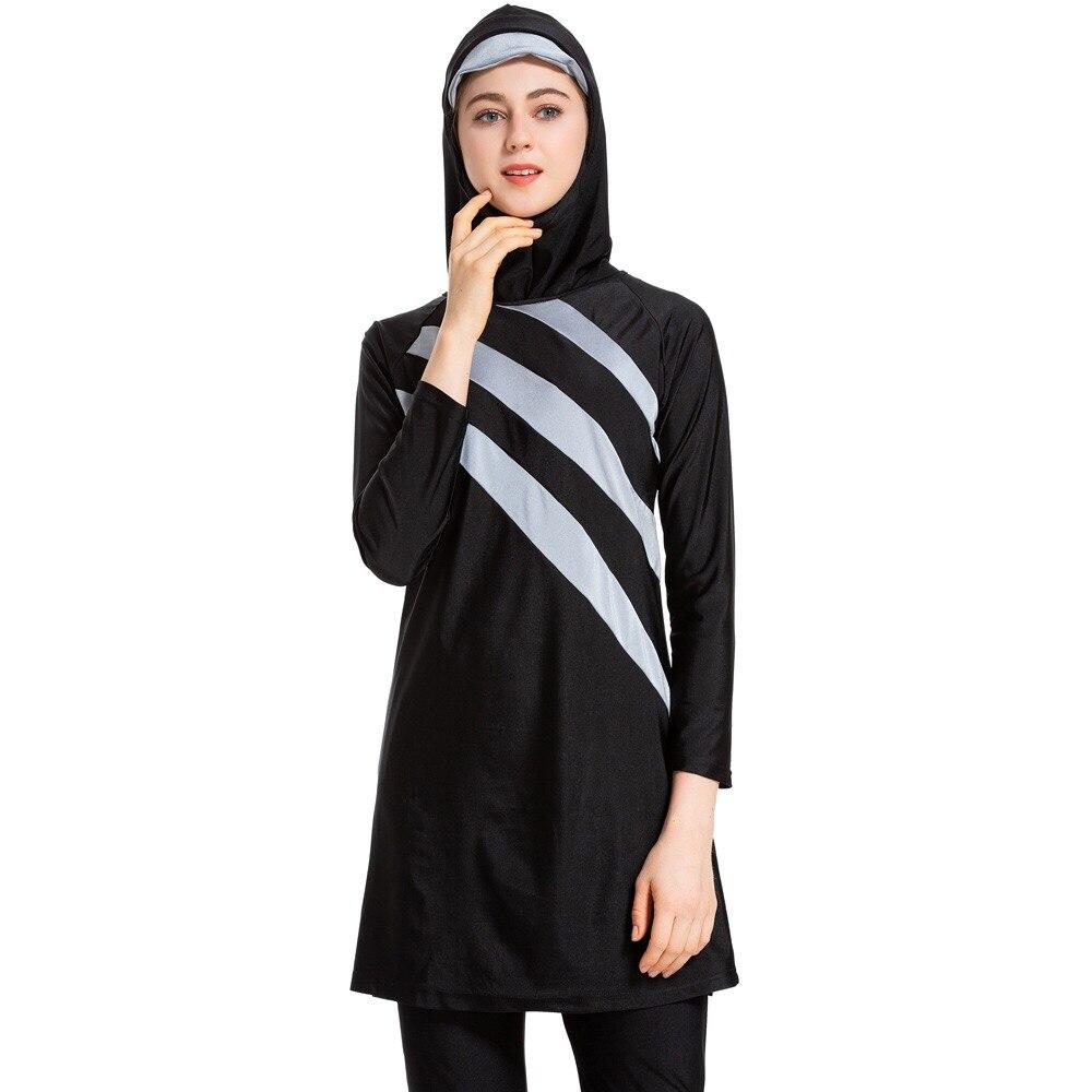 New Long Sleeves Muslim Swimwear Women Patchwork Color Hijab   maillot de bain femme Swimsuit Islamic Swim Wear Burkini 2019 tights