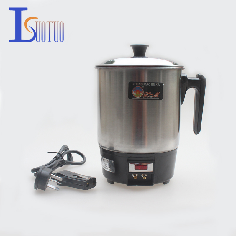 Stainless steel conjoined twin electric cup,prevent dry burn electric heat pan,electric kettle,students special electric cup 220v 600w 1 2l portable multi cooker mini electric hot pot stainless steel inner electric cooker with steam lattice for students