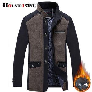 Image 2 - Holyrising men coat winter wool caot erkek kaban Fashion Business Thicken Slim Overcoat Jacket Male Peacoat Brand Clothes 18703